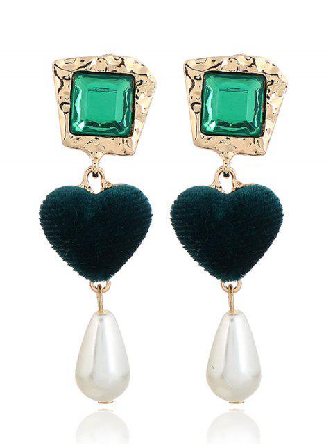 Boucles d'Oreilles Pendantes Ornées Cœur et Perle Fantaisie Style Romantique - Vert  Mobile