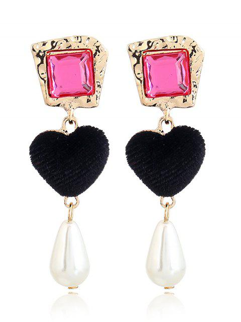 womens Romantic Heart Faux Pearl Drop Earrings - BLACK + ROSE RED  Mobile
