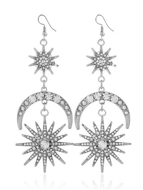 Rhinestone Inlay Star Moon Hook Pendientes - Blanco  Mobile