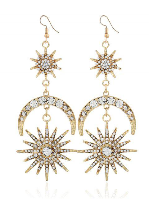 Rhinestone Inlay Star Moon Hook Pendientes - Dorado  Mobile