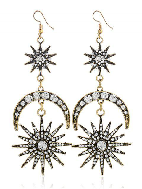 lady Rhinestone Inlay Star Moon Hook Earrings -   Mobile
