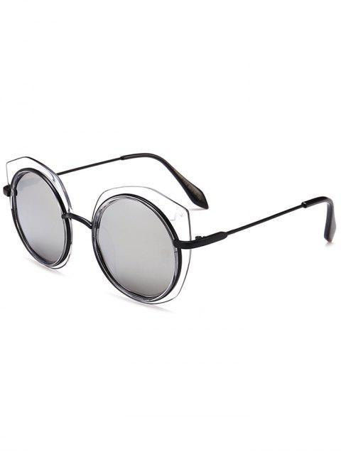 Gafas de sol redondas de la ceja del marco metálico antifatiga - Negro + Mercurio  Mobile