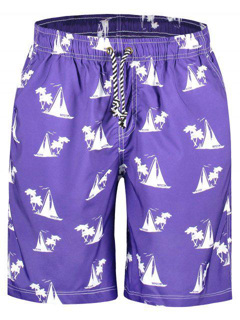 Pantalones cortos con estampado de veleros - Púrpura 2XL Mobile