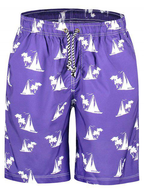 fancy Sailboat Print Board Shorts - PURPLE M Mobile