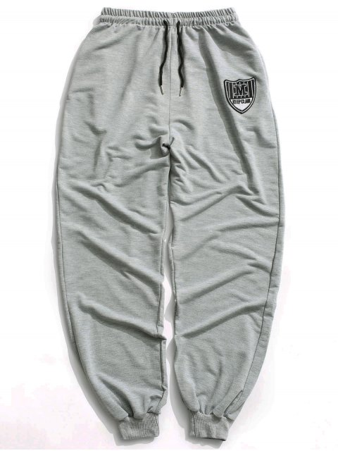 Patch Drawstring Jogger Pants - Gris L Mobile