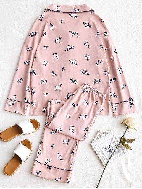 Conjunto de pijamas gráficos de algodón para perros - Rosado XL Mobile