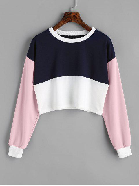 Sweat-shirt Court Contrastant - Rose Léger S Mobile