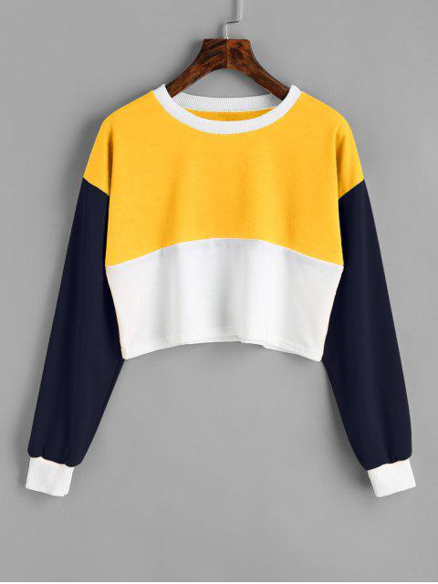 fashion Contrast Crop Sweatshirt - YELLOW S Mobile