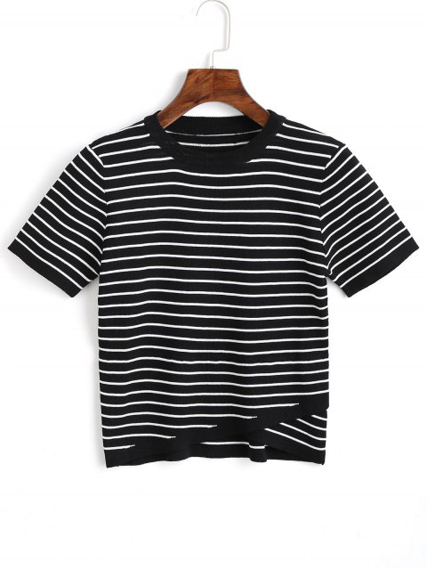 fancy Knitted Overlap Stripes Top - BLACK M Mobile