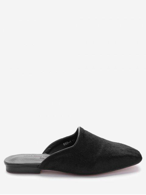 womens Square Toe Loafers - BLACK 39 Mobile