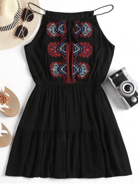 Vestido bordado con borlas y parche borlas - Negro Talla única Mobile