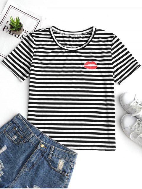 affordable Round Collar Lip Print Striped Tee - STRIPE XL Mobile