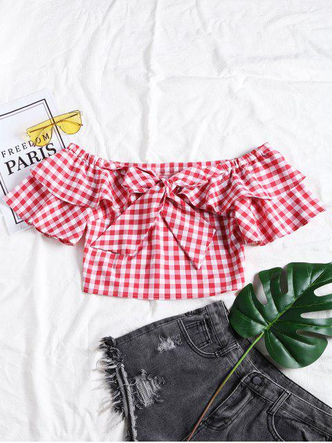 unique Plaid Ruffle Off Shoulder Top - CHECKED L Mobile