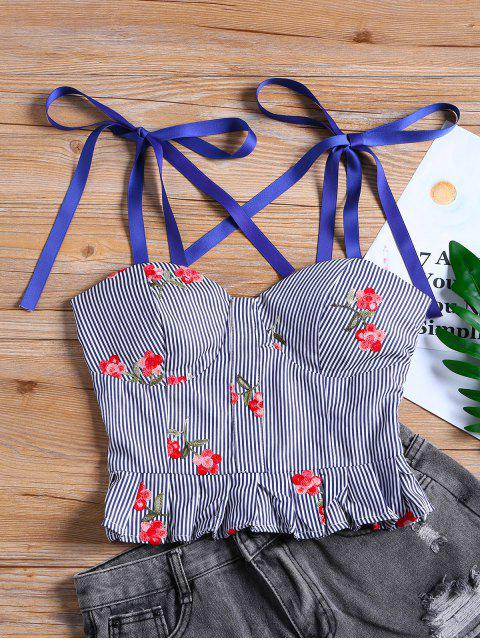 buy Floral Stripes Ruffle Tank Top - BLUE L Mobile
