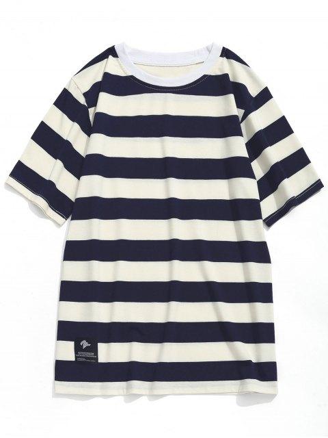 T-shirt Ras du Cou à Rayures - Bleu Marine  + Blanc XL Mobile