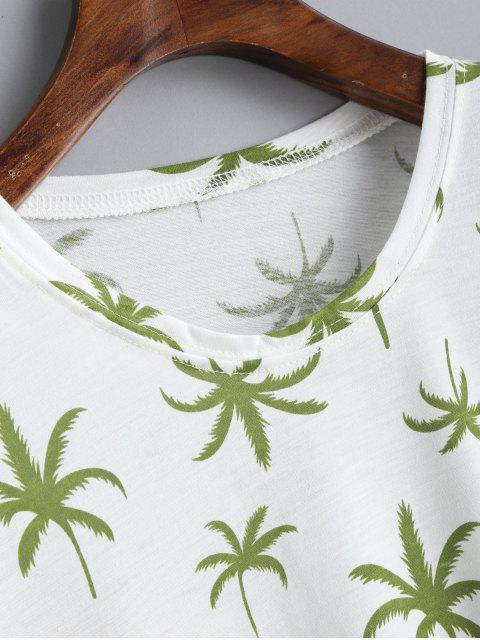 Camiseta con cuello redondo y estampado de coco - Blanco Talla única Mobile