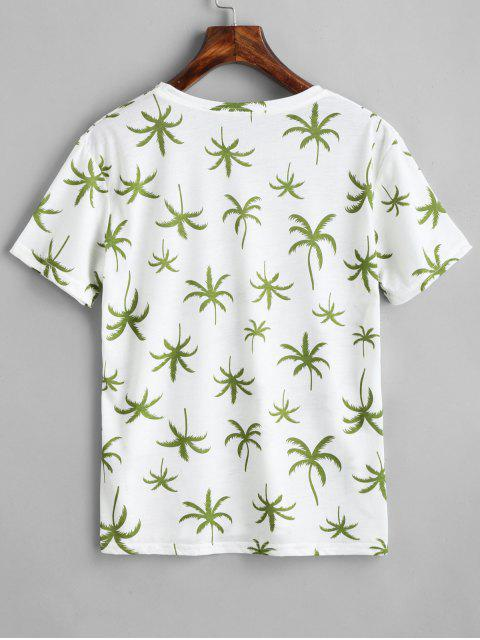 sale Coconut Tree Print Round Collar Tee - WHITE ONE SIZE Mobile