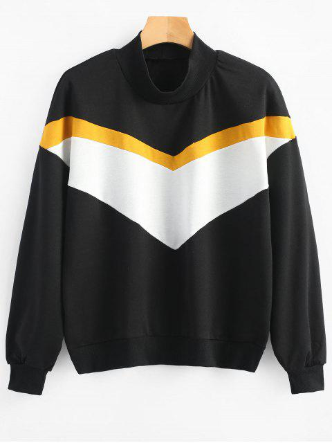 hot High Neck Contrast Sweatshirt - BLACK M Mobile