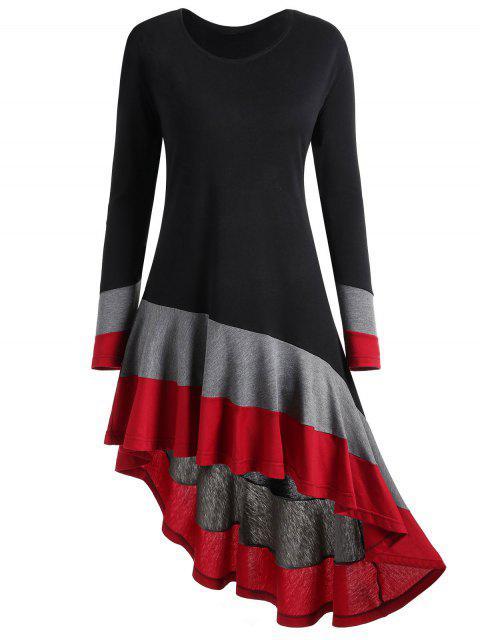 Haut Asymétrique Contrastant Grande Taille - Noir et Gris XL Mobile
