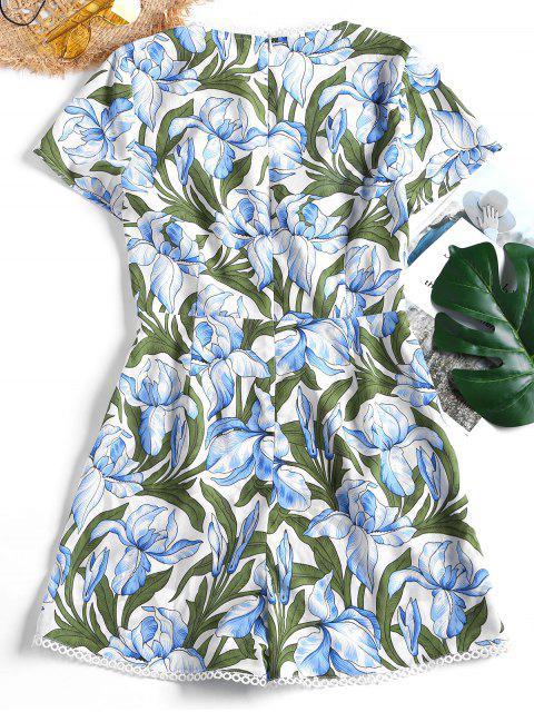 shop Crochet Trim Floral Print Plunge Romper - FLORAL M Mobile