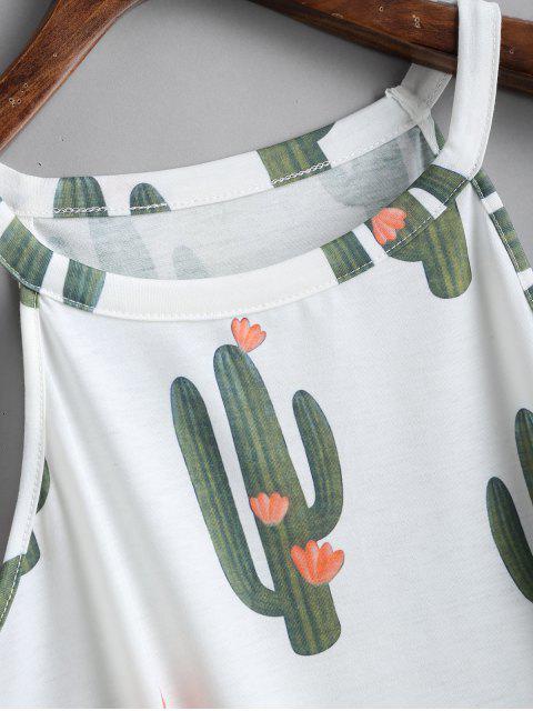 Cactus Imprimir cuello redondo sin mangas - Blanco M Mobile
