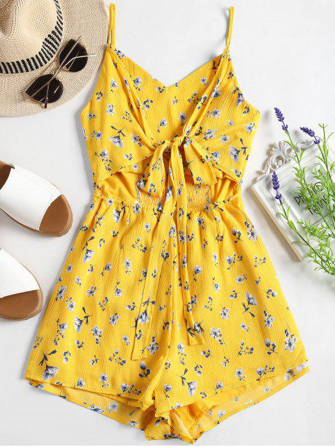 Smoked Cut Out Floral Cami Romper - Amarillo M Mobile