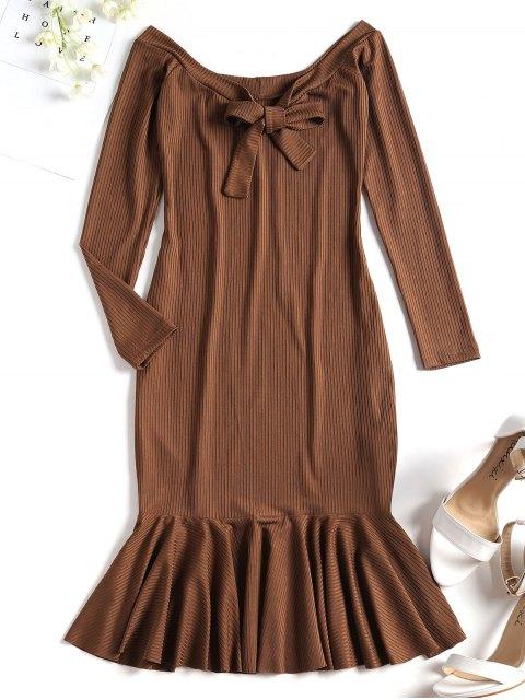 Mini Robe Côtelée à Volant Et à Épaules Dénudées - Brun S Mobile