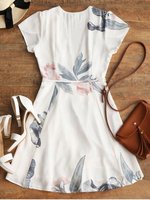 Mini vestido Floral Beach Wrap - Blanco L Mobile