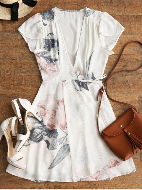 fancy Floral Beach Wrap Mini Dress - WHITE L Mobile