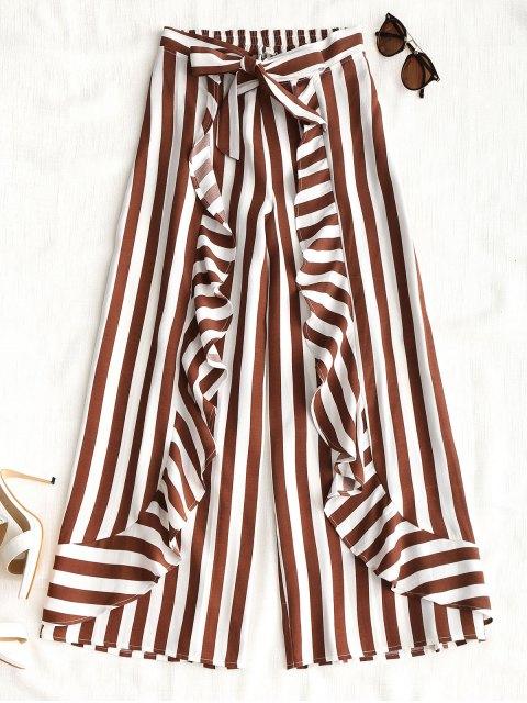 Rüschen Streifen Wide Leg Pants - Streifen  M Mobile