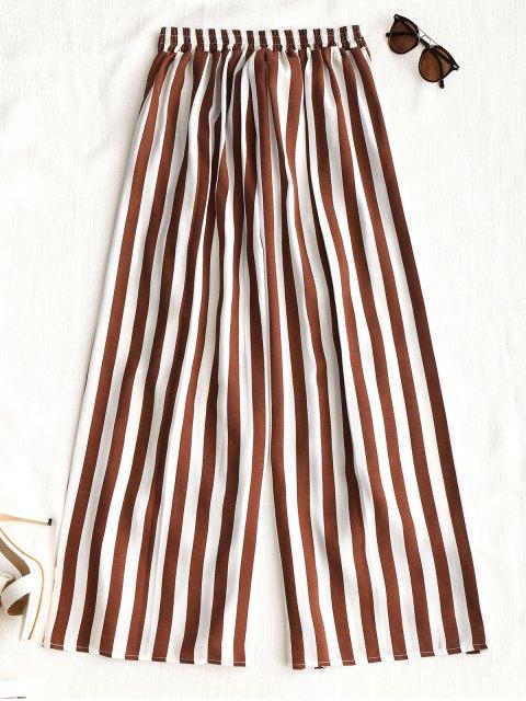 online Ruffles Stripes Wide Leg Pants - STRIPE XL Mobile
