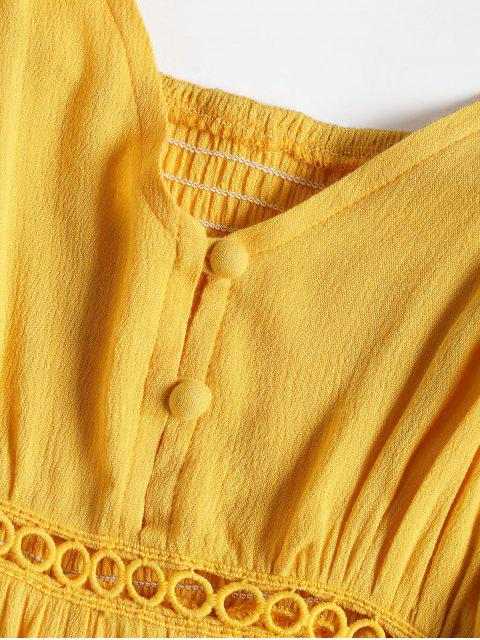 fancy Hollow Out A Line Cami Dress - YELLOW S Mobile