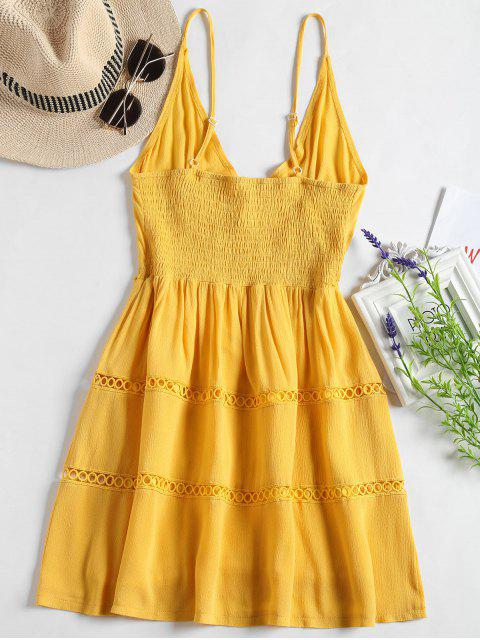 best Hollow Out A Line Cami Dress - YELLOW L Mobile