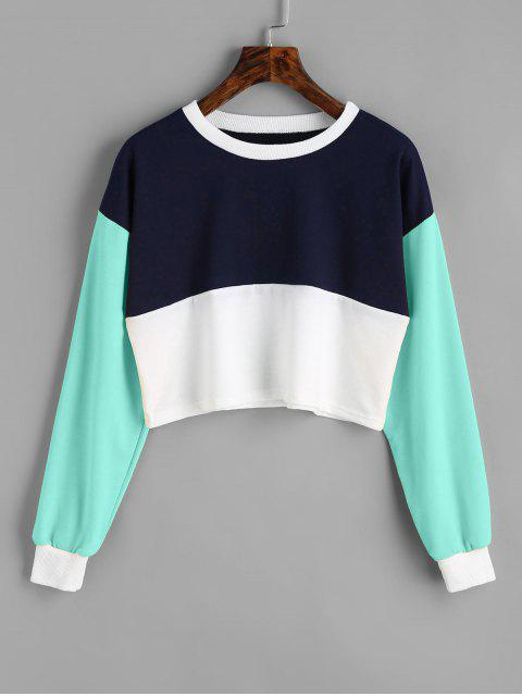 outfit Contrast Crop Sweatshirt - LAKE GREEN S Mobile