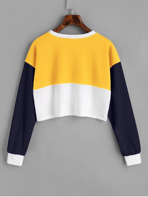 Sudadera con cuello en contraste - Amarillo M Mobile