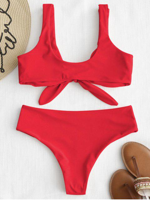 chic ZAFUL Tie Front Padded Bikini Set - BRIGHT RED S Mobile