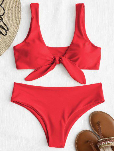 Front Knot Padded Bikini Set - Bright Red S