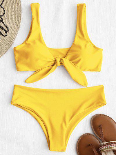 Front Knot Padded Bikini Set - Yellow M