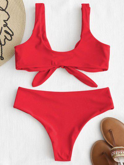 11fbfedad9 ... Bikini Acolchado Delantero Con Lazo ZAFUL - Rojo Brillante M