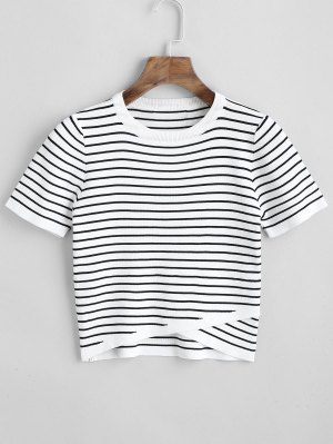 Knitted Overlap Striped Top - White M