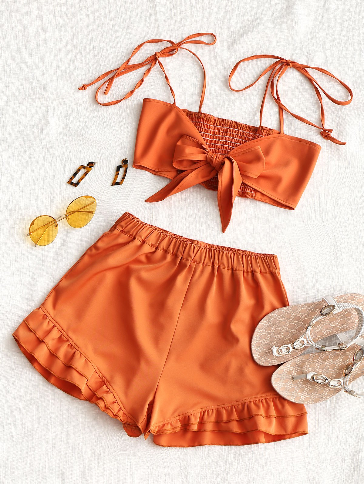 Shirred Back Tie Top and Ruffle Shorts Set