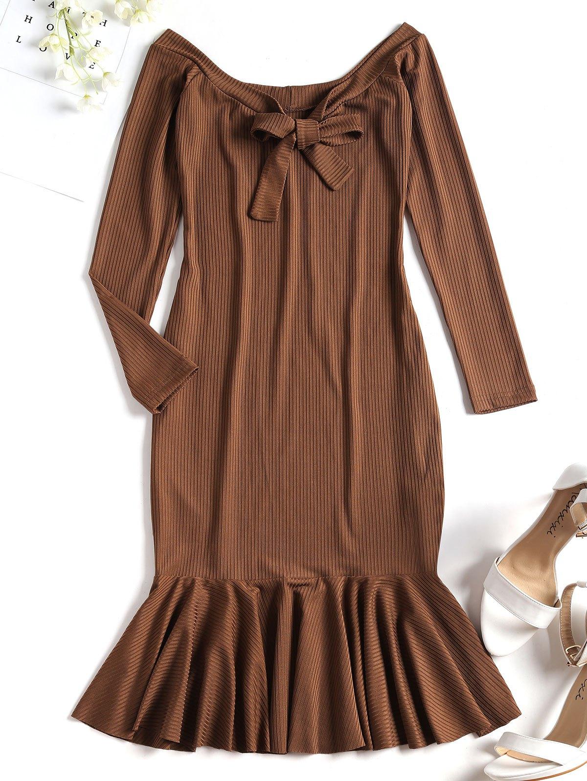 Ribbed Ruffle Off Shoulder Mini Dress 255053901