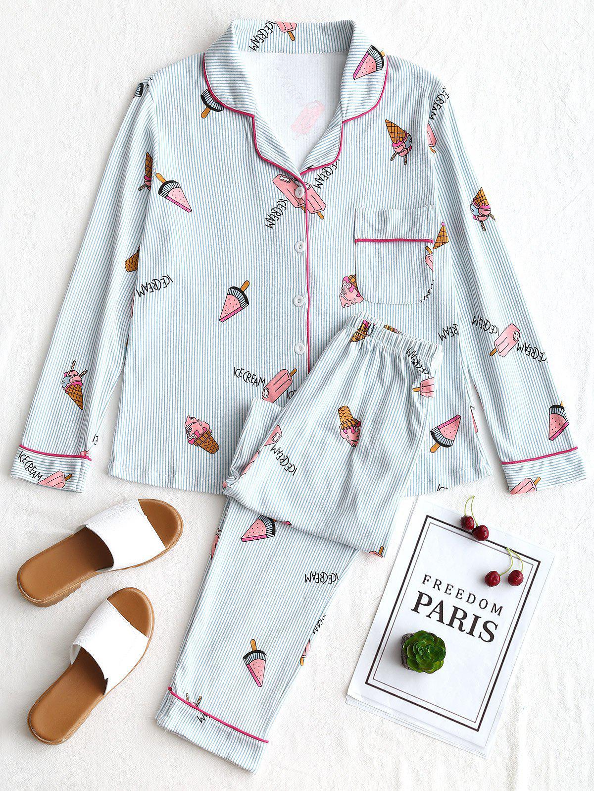 Rayé De La Crème Glacée Graphique Pyjama Set