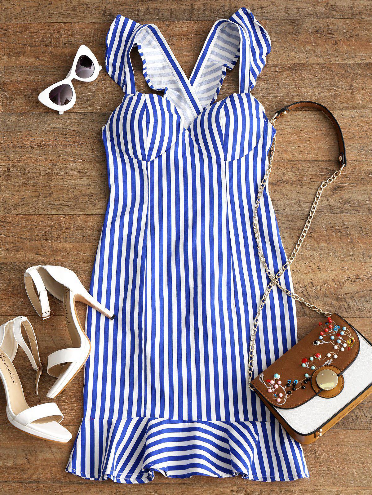 Stripes Criss Cross Ruffle Mini Dress 254567201