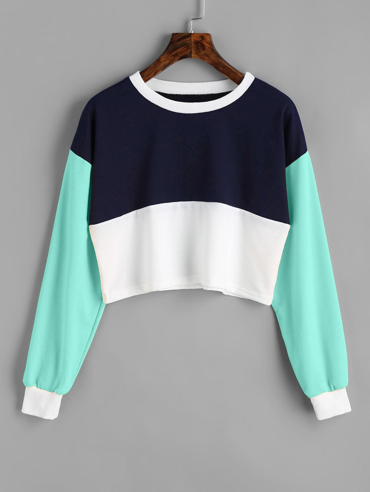 Contrast Crop Sweatshi