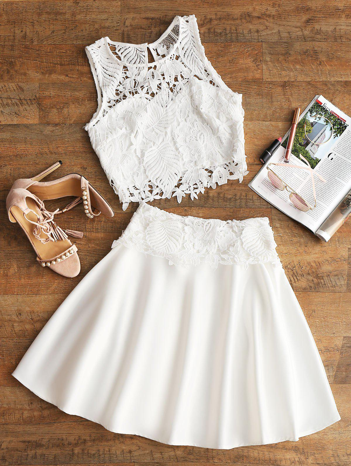 Cropped Crochet Eyelet Top and Skirt Set 254536401