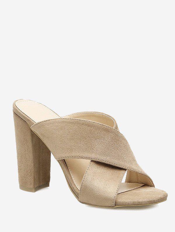 Block Heel Criss Cross Sandals 250255901