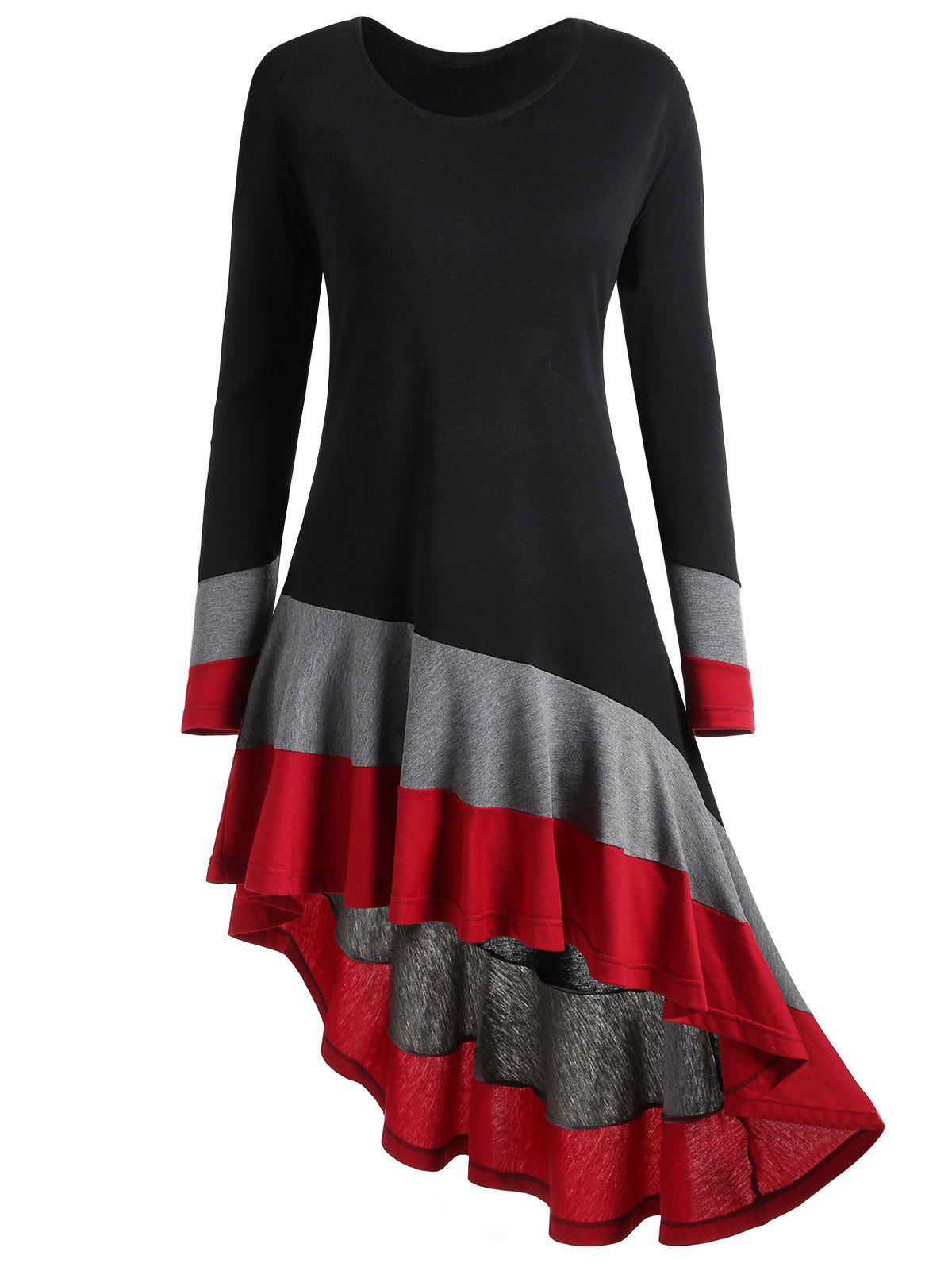 Plus Size Color Block Asymmetric Top, Black and grey