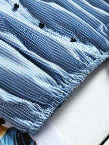 Hombros Con Azul M Descubiertos Rayas Corta Blusa A wqBInt
