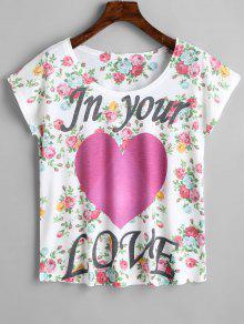 Estampado Corazones Floral De Camiseta De Con Floral Estampado wxYwZqgp